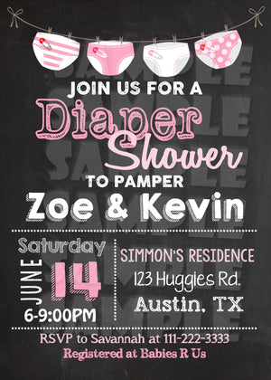 Diaper Shower Invitation (Digital File Only), Digital Download, Printable File, Invitation - Forever Fab Boutique