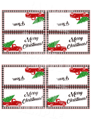 Christmas Red Truck and Buffalo Check Treat Bag Toppers