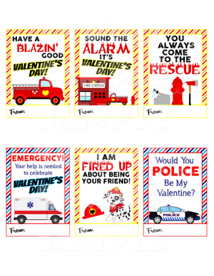 Firetruck and Rescue Vehicle Valentine Cards - Printable Instant Download