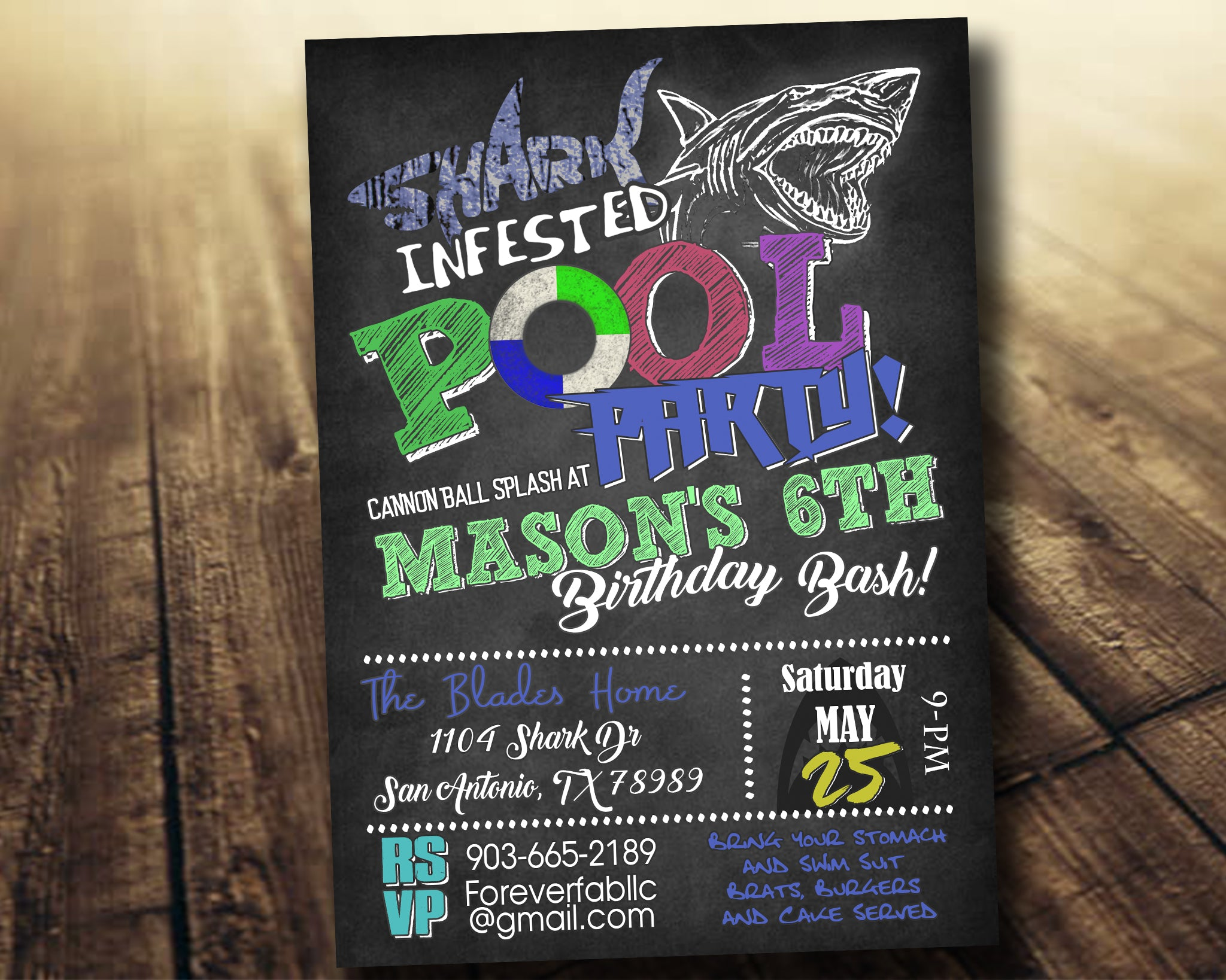 Shark Infested Pool Party Birthday Invitation Digital Download Printable File Customized