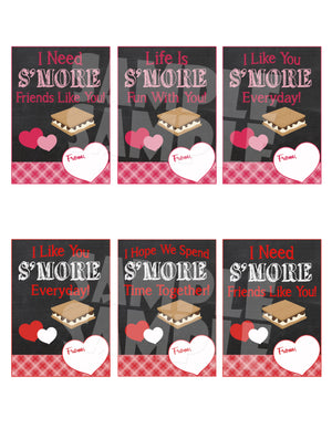 S'more Valentine Cards - Printable Instant Download
