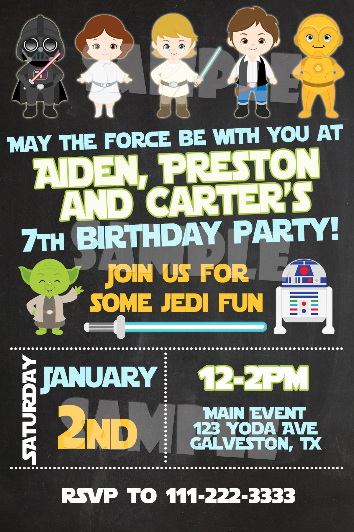 Star Wars Birthday Invitation Digital Download Printable File Customized Party