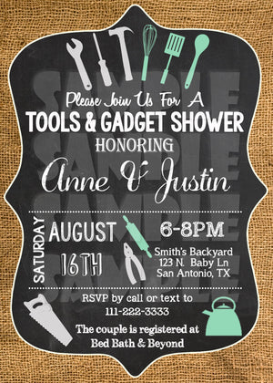 Tools & Gadget Couples Shower Invitation, Digital Download, Printable File, Invitation - Forever Fab Boutique