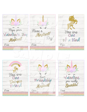 Unicorn Valentine Cards Printable Instant Download