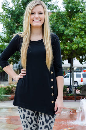 All Buttoned Up Tunic Black-Top-Forever Fab Boutique