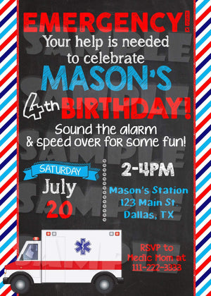 Ambulance Custom Birthday Invitation - Paramedic Invite Printable-Digital Download, Printable File, Invitation-Forever Fab Boutique