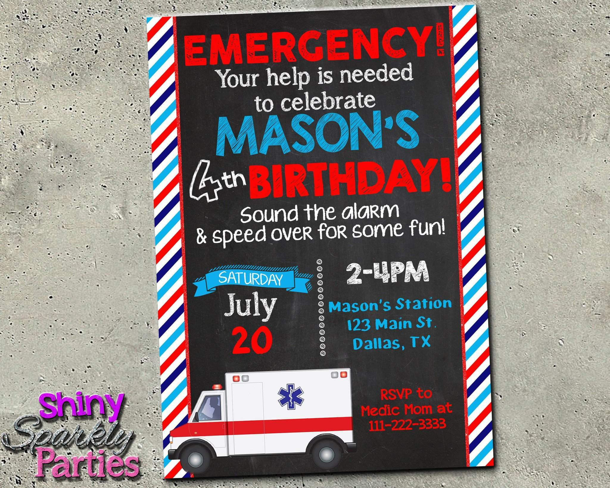Ambulance Custom Birthday Invitation