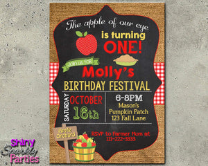 Apple First Birthday Invitation - Fall Birthday Invite Printable-Digital Download, Printable File, Invitation-Forever Fab Boutique