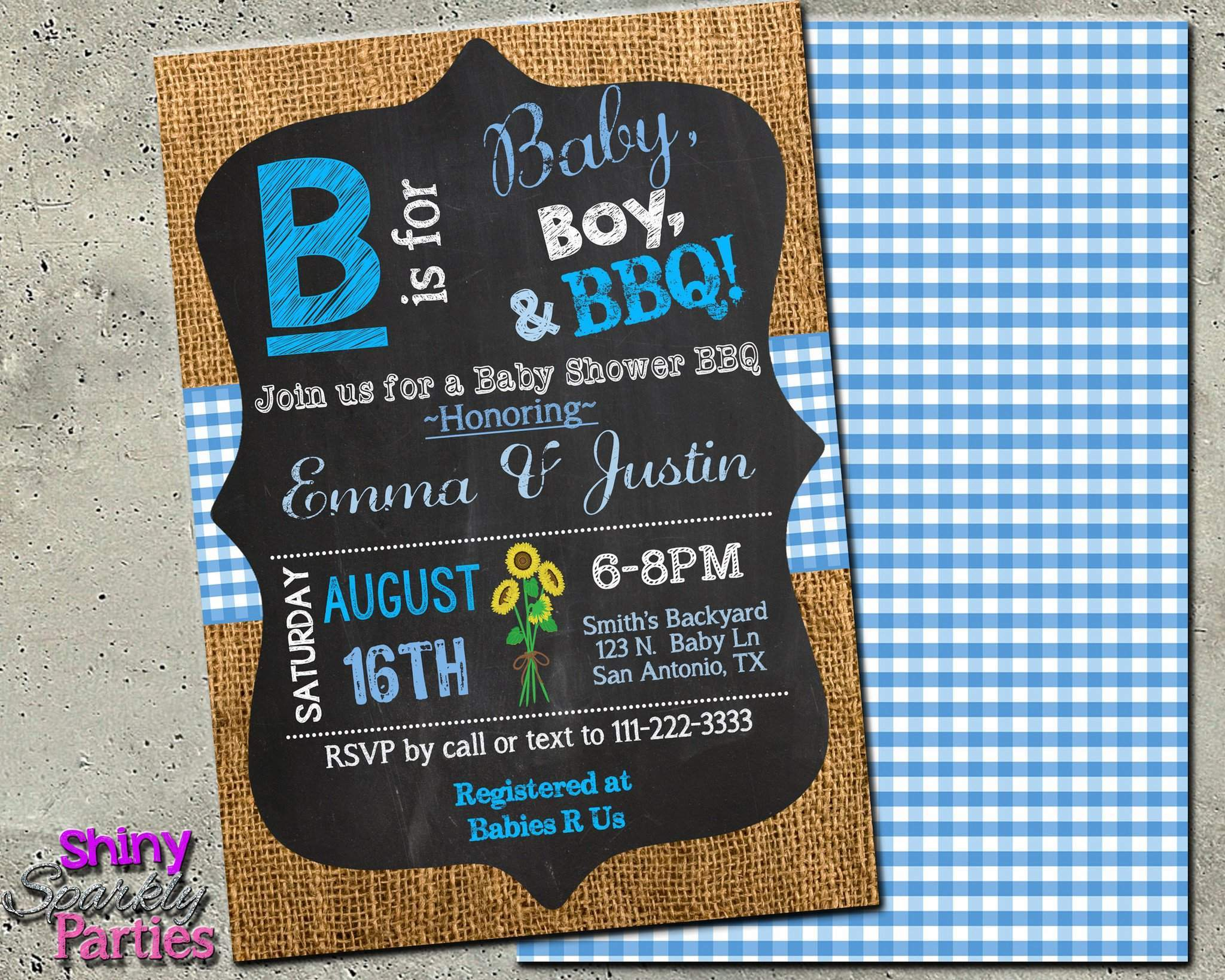 B is for Baby BBQ Shower Invitation - Printable - Forever Fab Boutique