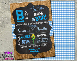 B is for Baby BBQ Shower Invitation - Printable-Digital Download, Printable File, Invitation-Forever Fab Boutique