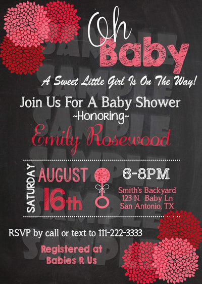 Baby Shower Custom Invitation  Flower Chalkboard Invitation  Color
