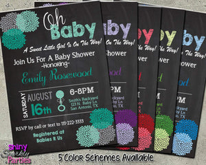 Baby Shower Custom Invitation - Flower Chalkboard Invitation Printable 5 Color Schemes-Digital Download, Printable File, Invitation-Forever Fab Boutique