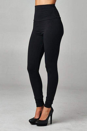 Basic High Waisted Leggings Black-Bottom-Forever Fab Boutique