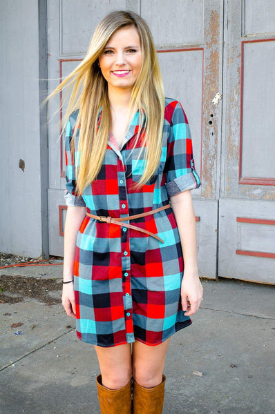 Be Mine Plaid Shirt Dress With Belt-Top-Forever Fab Boutique
