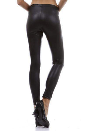 Black Faux Pleather Leggings-Bottom-Forever Fab Boutique