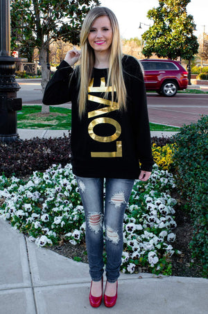 Blingin' Love Top Black And Gold-Shirt-Forever Fab Boutique