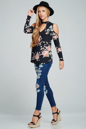 Bloom For Me Floral Cut-Out Shoulder Choker Top - Navy-Top-Forever Fab Boutique