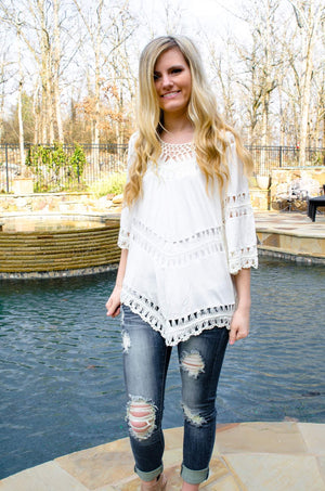Boho Babe Crochet Top Ivory-Top-Forever Fab Boutique