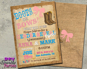 Boots Or Bows Gender Reveal Party Invitation-Digital Download, Printable File, Invitation-Forever Fab Boutique