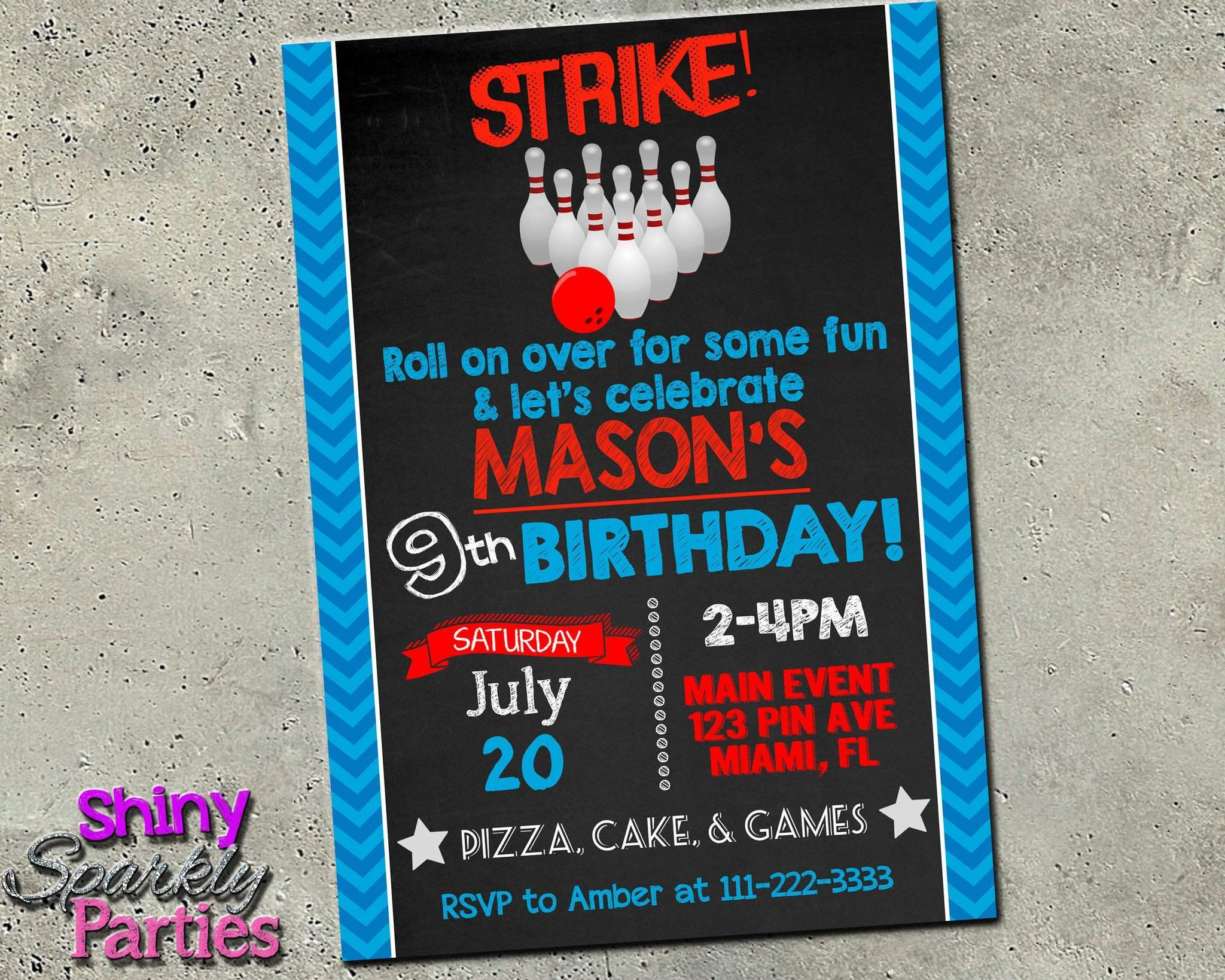 image about Printable Bowling Party Invitations known as Bowling Birthday Invitation - Bowling Celebration