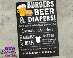 Burgers Beer & Diapers Invitation - Couples Shower Invite Printable (Digital File Only)-Digital Download, Printable File, Invitation-Forever Fab Boutique