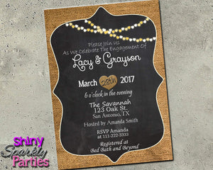 Burlap Engagement Party Invitation Printable (Digital File Only)-Digital Download-Forever Fab Boutique