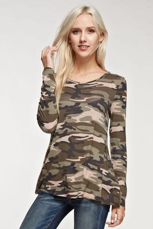 Camo Lovin' Camo And Lace Top-Top-Forever Fab Boutique