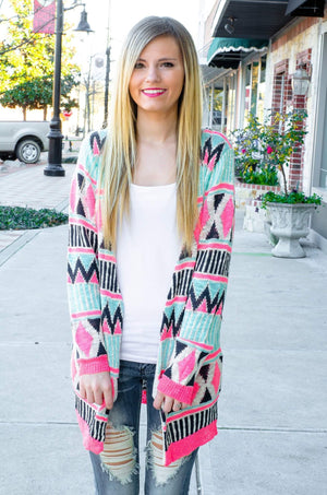 Candy Shoppe Neon Tribal Print Cardigan-Top-Forever Fab Boutique