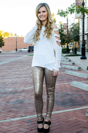 Center of Attention Sequin Pants Gold-Bottom-Forever Fab Boutique