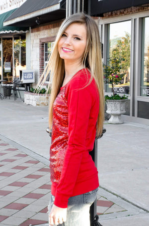 Cinnamon And Spice Sequin Top Red-Top-Forever Fab Boutique