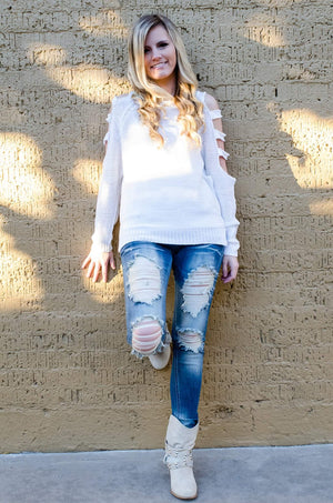 Cold Shoulder Cut Out Sweater White-Top-Forever Fab Boutique