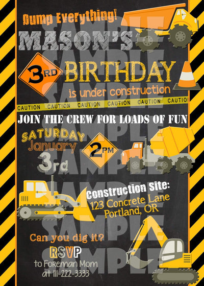 Construction Birthday Invitation Forever Fab Boutique