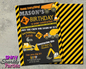 Construction Birthday Invitation Printable (Digital File Only)-Digital Download, Printable File, Invitation-Forever Fab Boutique
