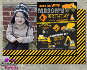 Construction Birthday Invitation with photo - Printable (Digital File Only)-Digital Download, Printable File, Invitation-Forever Fab Boutique