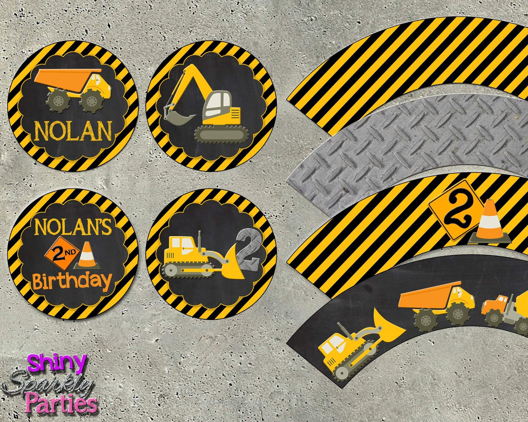Construction Cupcake Toppers And Cupcake Wrappers Forever Fab Boutique