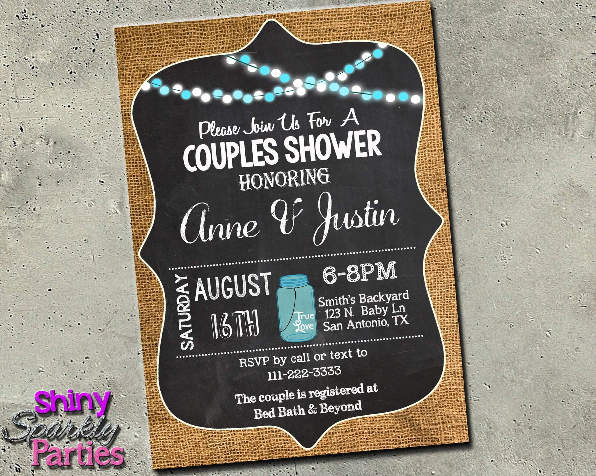 photograph about Printable Shower Invitations titled Partners Shower Invitation - Burlap And Chalkboard Invitation