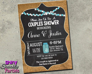 Couples Shower Invitation - Burlap And Chalkboard Invitation Printable (Digital File Only)-Digital Download, Printable File, Invitation-Forever Fab Boutique