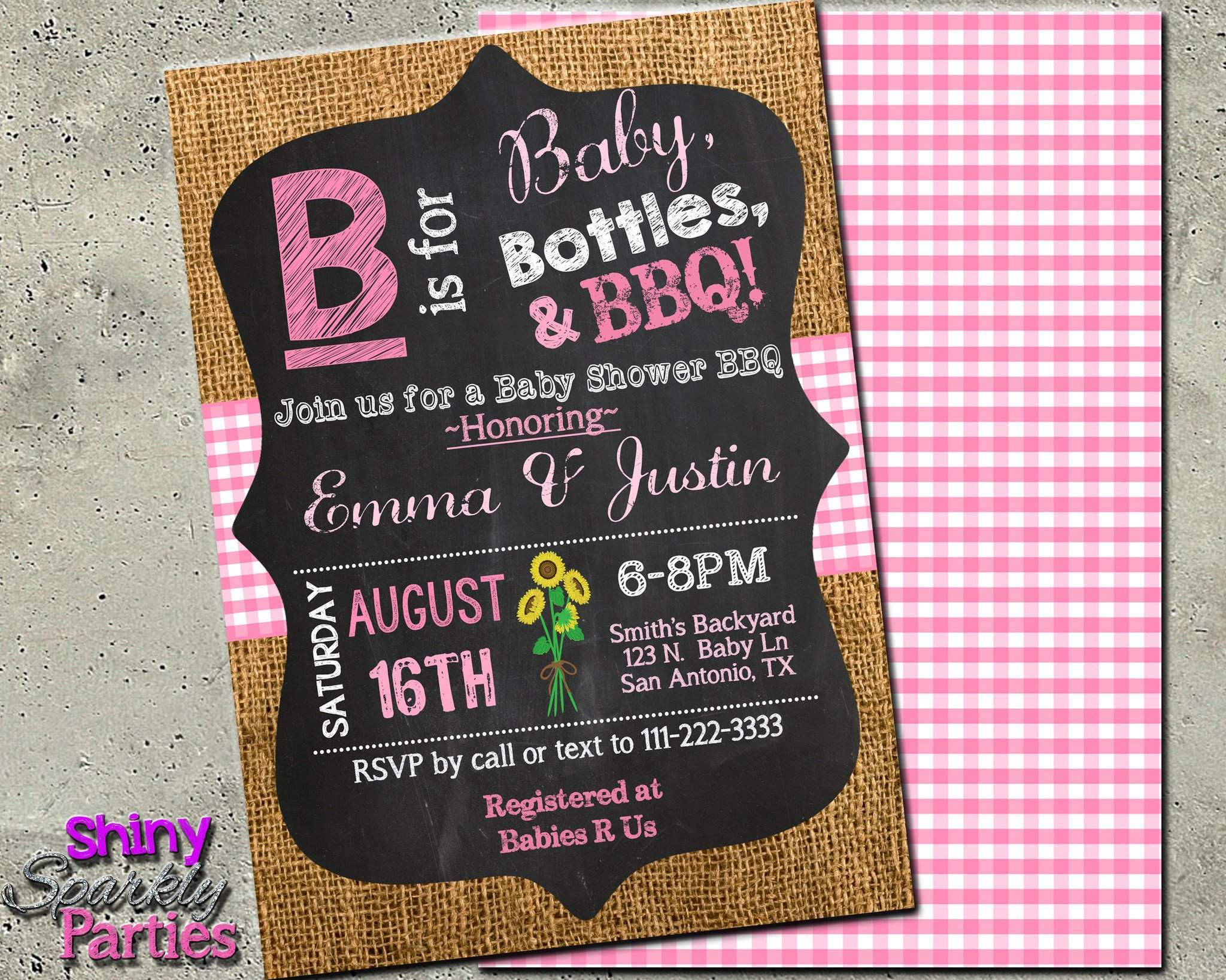 Custom baby girl baby shower invitation b is for baby shower custom baby girl baby shower invitation b is for baby shower invite printable filmwisefo