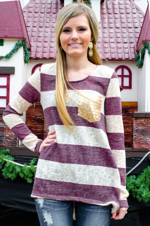 Day Dreamin' Striped Top With Gold Sequin Pocket Wine-Women's Top-Forever Fab Boutique