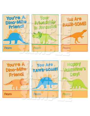 Dinosaur Valentine Cards - Printable (Digital File Only)-Digital Download, Printable File, Instant Download-Forever Fab Boutique