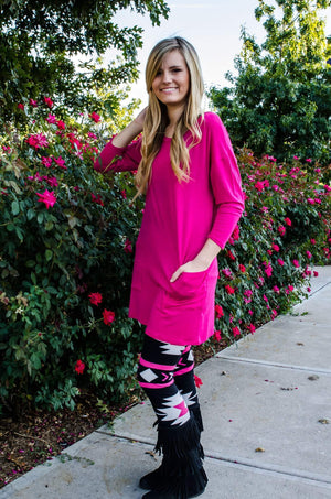 Don't Push My Buttons Tunic Hot Pink-Top-Forever Fab Boutique