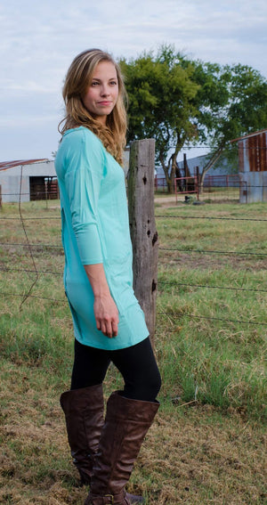 Don't Push My Buttons Tunic Mint-Top-Forever Fab Boutique