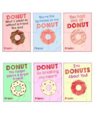 Donut Valentine Cards - Printable Valentines (Digital File Only)-Digital Download, Printable File, Instant Download-Forever Fab Boutique