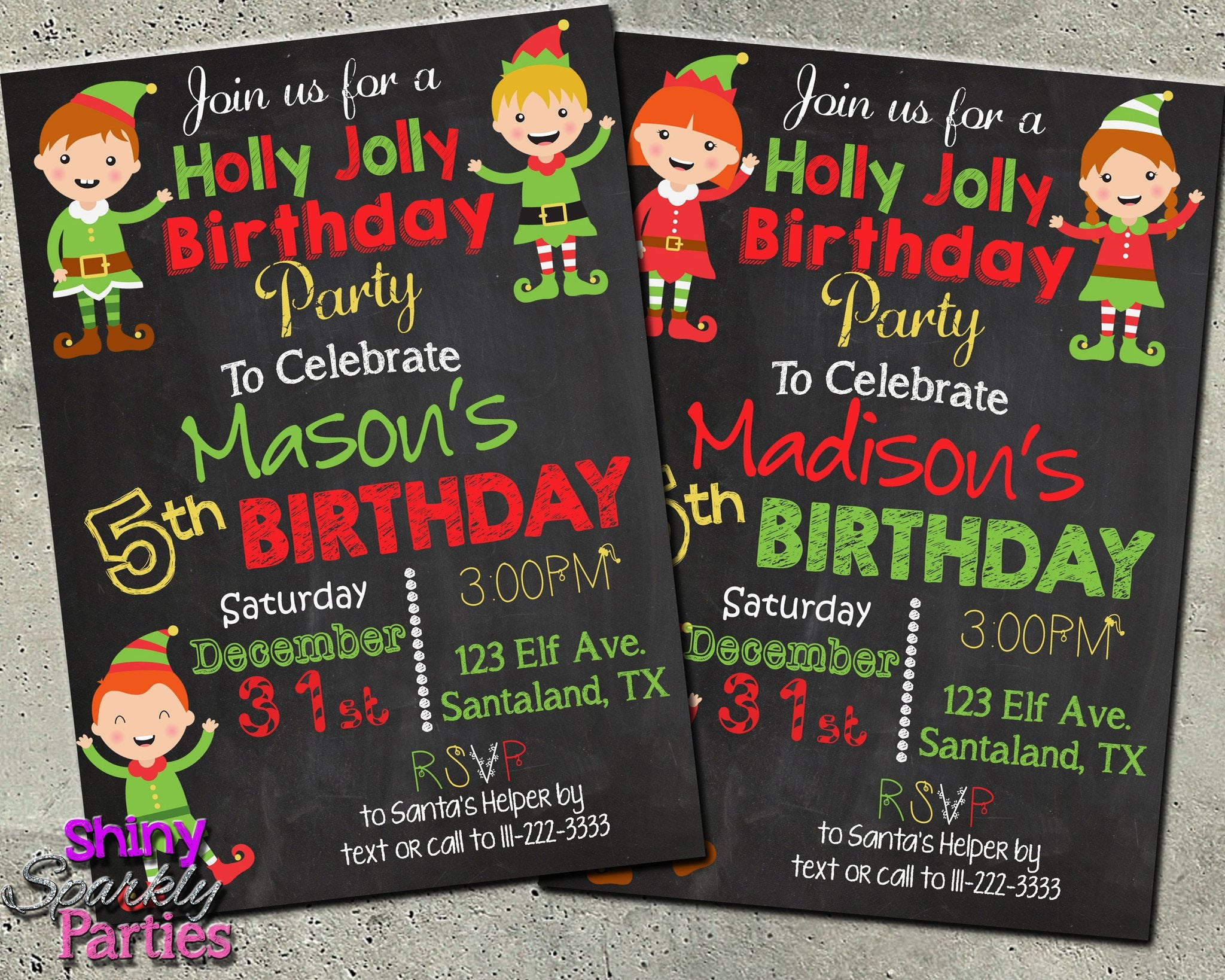 Christmas Birthday Party Invitations.Elf Birthday Invitation Christmas Birthday Invitation