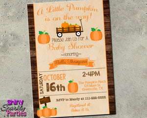 Fall Pumpkin Baby Shower Invitation - Printable (Digital File Only)-Digital Download, Printable File, Invitation-Forever Fab Boutique