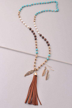 Feather In The Wind Tassel Necklace With Feather Earrings-Jewelry-Forever Fab Boutique