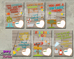 Fishing Themed Valentines - Printable - Instant Download-Digital Download, Printable File, Instant Download-Forever Fab Boutique