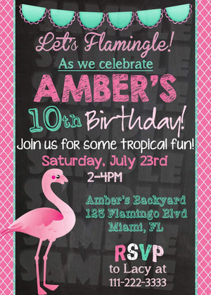 Flamingo Birthday Invitation - Printable (Digital File Only)-Digital Download, Printable File, Invitation-Forever Fab Boutique