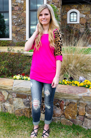 For The Love Of Leopard Print Top Hot Pink-Women's Top-Forever Fab Boutique