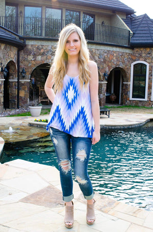 Girl Next Door Geometric Print Tank Top-shirt-Forever Fab Boutique